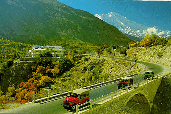 A bridge on the Karakoram Highway and PTDC Motel can be seen in this picture